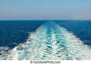 barca, scia, in, il, mare