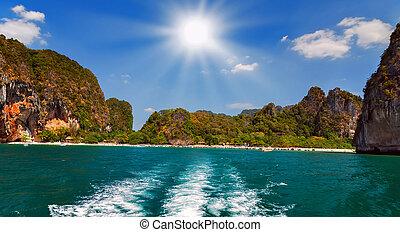 barca, scia, sole
