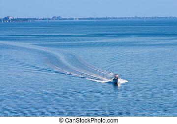 barca, su, calma, giorno
