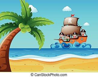 barca vela, bambini, scena