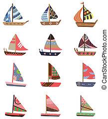 barca vela, cartone animato, icona