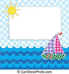 barca vela, cornice, colorito