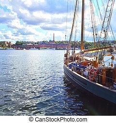 barca vela, e, vista, sopra, stoccolma, centro urbano