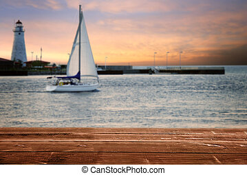 barca vela, faro, legno, tramonto, ponte