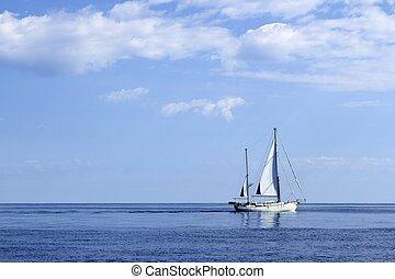 barca vela, navigazione, su, blu, mare, orizzonte, oceano