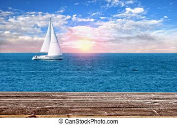 barca vela, oceano, dall'aspetto, legno, tramonto, tavola