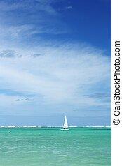 barca vela, oceano, e, cielo