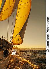 barca vela, raccolto, durante, il, regata, a, oceano tramonto