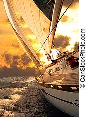 barca vela, raccolto, durante, il, regata