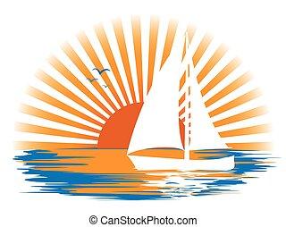 barca vela, tramonto, paesaggio, fondo