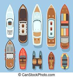 barca, vettore, vista aerea, cima, set, oceano, navi