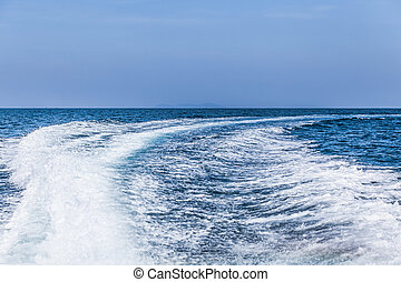 barca, wake., acqua, scia