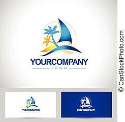 barca, yacht, logotipo, disegno