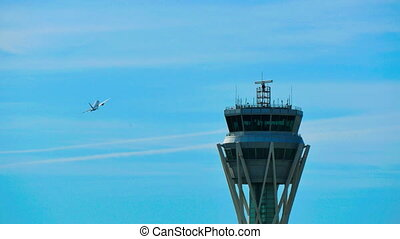 Barcelona Airport Radar Traffic Control Tower - Air Traffic...