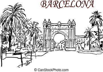 Barcelona ,arc ,trees in the city