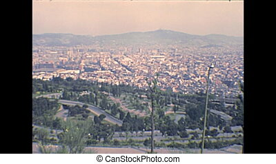 Barcelona archival aerial view - vintage cityscape of...