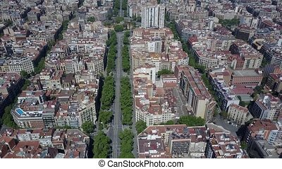 Barcelona blocks pattern and major street aerial view,...