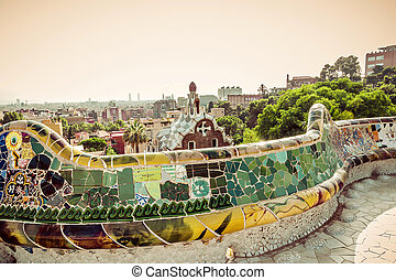 barcelona., catalogna, spagna, mosaico, panca