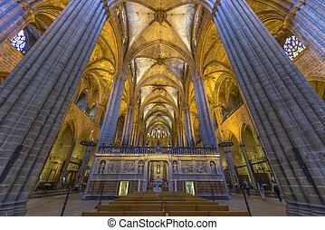 Barcelona Cathedral Interior, Catalonia, Spain - The ...