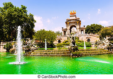 barcelona., chafariz, catalonia, cascada, espanha