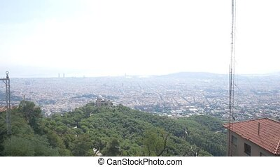 Barcelona city aerial view. City overview - Barcelona city...