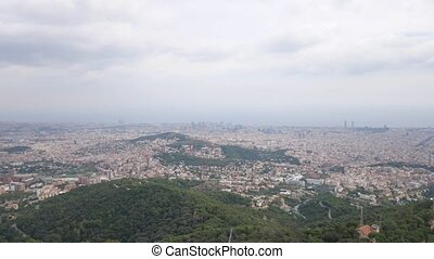 Barcelona city aerial view. View from the observation deck....