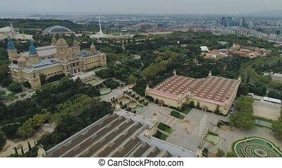 Barcelona city Catalonia Spain Drone historical cityscape...