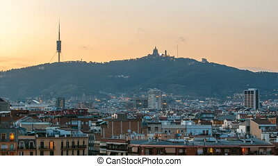 Barcelona city panoramic overview day to night timelapse with mount tibidabo
