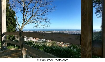 Barcelona City Panoramic View from Tibidabo - High point...