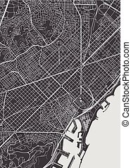 Barcelona city plan, detailed vector map