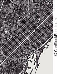 Barcelona city plan, detailed vector map