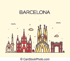 Barcelona City skyline Trendy vector line art - Barcelona...