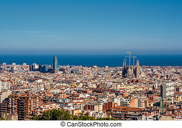 Barcelona cityscape overlook from Park Guell