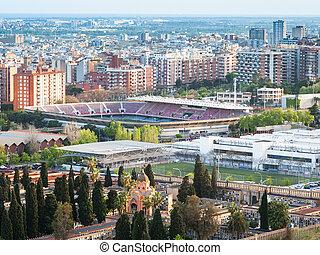 Barcelona cityscape with camp nou stadium - Barcelona...