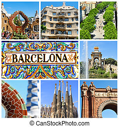 barcelona collage - a collage of nine pictures of different...
