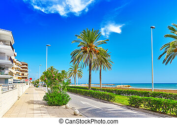 barcelona, costa, seafront, suburbio, spain., playa