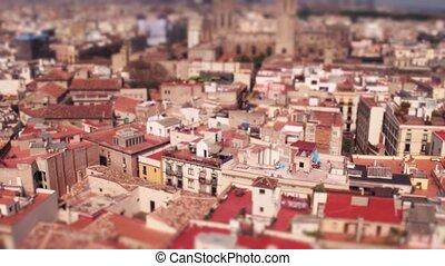 Barcelona dwelling houses rooftops, Spain. 4K pan video,...