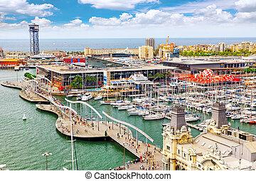 barcelona, espanha, -, setembro, 03:, vista, de, a, dique,...