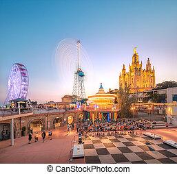 barcelona, espanha, templo, em, tibidabo
