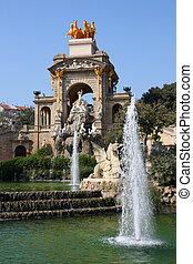 Barcelona - fountains in famous Parc de la Ciutadella. ...
