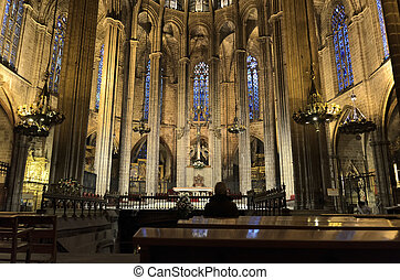 BARCELONA - JAN 2, 2012: Cathedral of Santa Eulalia in BArcelona, Spain on January 2, 2012
