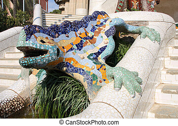 Famous mosaic lizard or dragon in Antoni Gaudi's Park Guell - Barcelona detail.