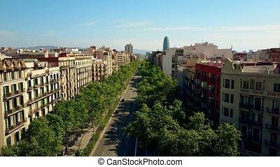 Barcelona major street aerial rising shot, Spain. City...