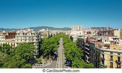 Barcelona major street aerial view, Spain. Distant Sagrada...