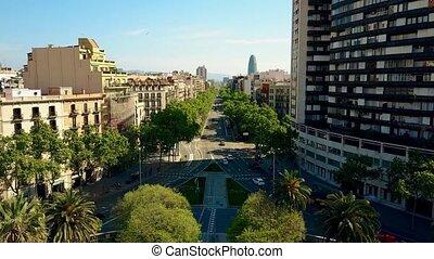 Barcelona major street aerial view, Spain. City traffic. 4K...