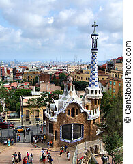barcelona, marco, -, parque, guell