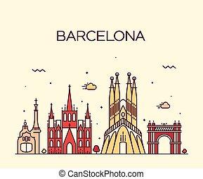 barcelona, miasto skyline, modny, wektor, lina sztuka