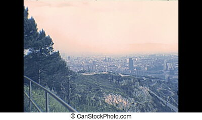 Barcelona Montjuic Castle skyline - skyline of Barcelona...