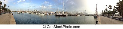 BARCELONA - OCTOBER 19: Panoramic view of Port Vell, October...
