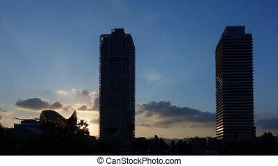 Barcelona olympic city port sunset timelapse - Time Lapse of...